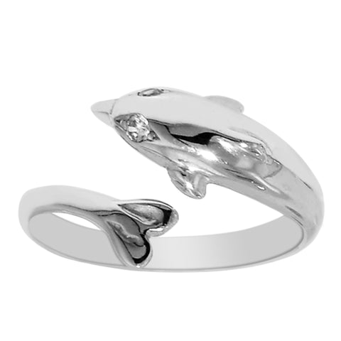 Sterling Silver Dolphin By Pass Style Adjustable Toe Ring - JewelryAffairs  - 1