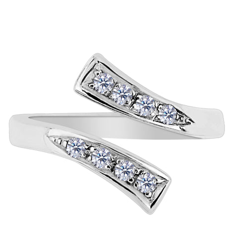 Sterling Silver Split Ends With CZ By Pass Style Adjustable Toe Ring