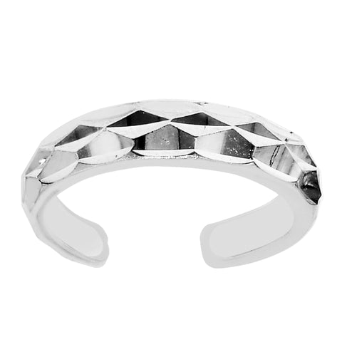 Sterling Silver Diamond Cut Cuff Style Adjustable Toe Ring