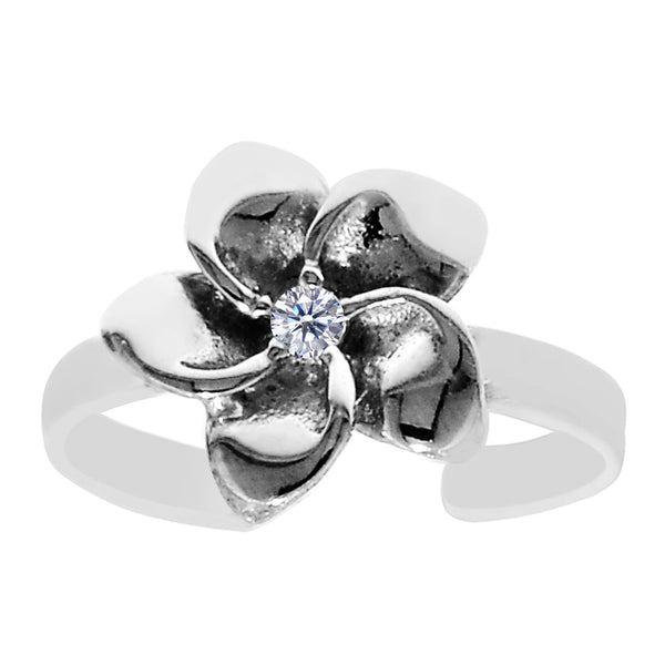 Sterling Silver Flower With CZ Cuff Style Adjustable Toe Ring - JewelryAffairs  - 1