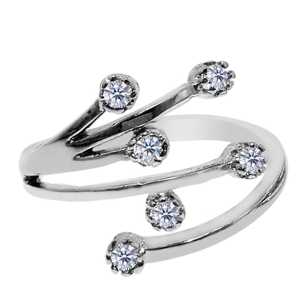Sterling Silver Star Flower With CZ By Pass Style Adjustable Toe Ring