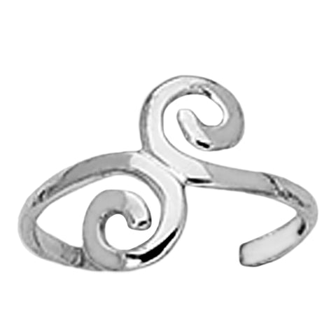 Sterling Silver Swirl Design Cuff Style Adjustable Toe Ring - JewelryAffairs  - 1