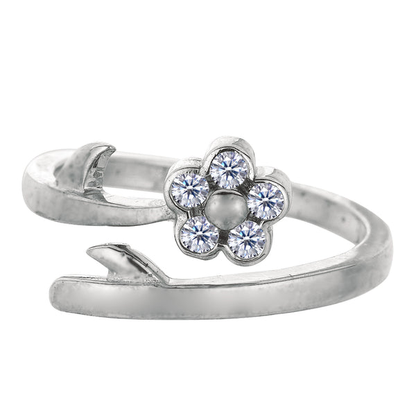 Sterling Silver Flower With CZ By Pass Style Adjustable Toe Ring