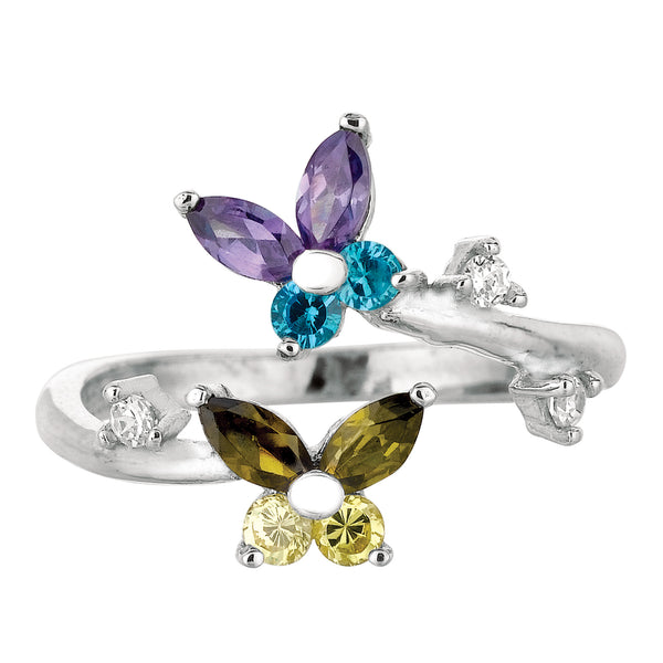 Sterling Silver Butterflies Colored CZ By Pass Style Adjustable Toe Ring