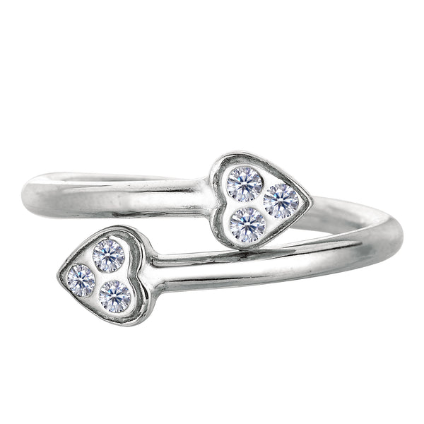 Sterling Silver Hearts Style With CZ By Pass Style Adjustable Toe Ring