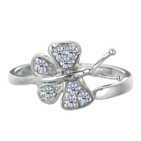 Sterling Silver Butterfly With CZ By Pass Style Adjustable Toe Ring - JewelryAffairs  - 1
