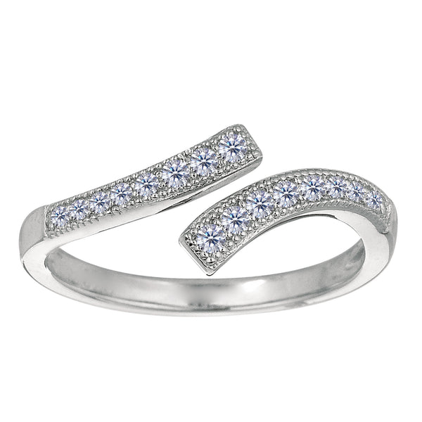 Sterling Silver Micropave With CZ By Pass Style Adjustable Toe Ring