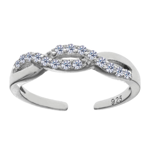 Sterling Silver Crossover Infinity With CZ Cuff Style Adjustable Toe Ring - JewelryAffairs  - 1