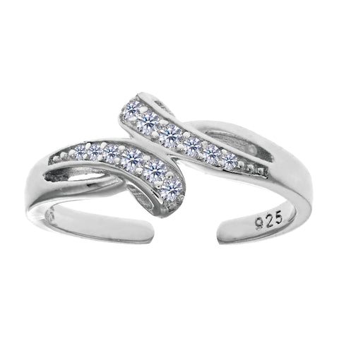 Sterling Silver Micropave With CZ Crossover Design Cuff Style Adjustable Toe Ring