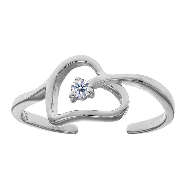 Sterling Silver  Open Heart With CZ Cuff Style Adjustable Toe Ring