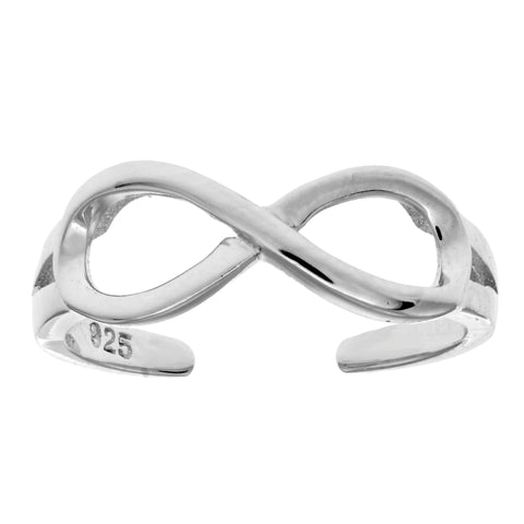 Sterling Silver Shinny Infinity Cuff Style Adjustable Toe Ring - JewelryAffairs  - 1