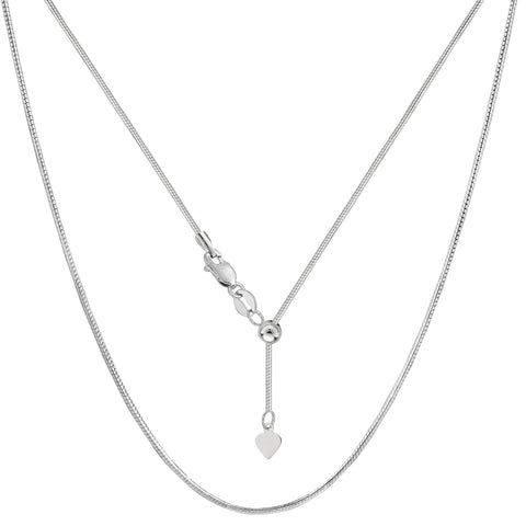Sterling Silver Rhodium Plated Sliding Adjustable Snake Chain Necklace, Width 1.2mm, 22""