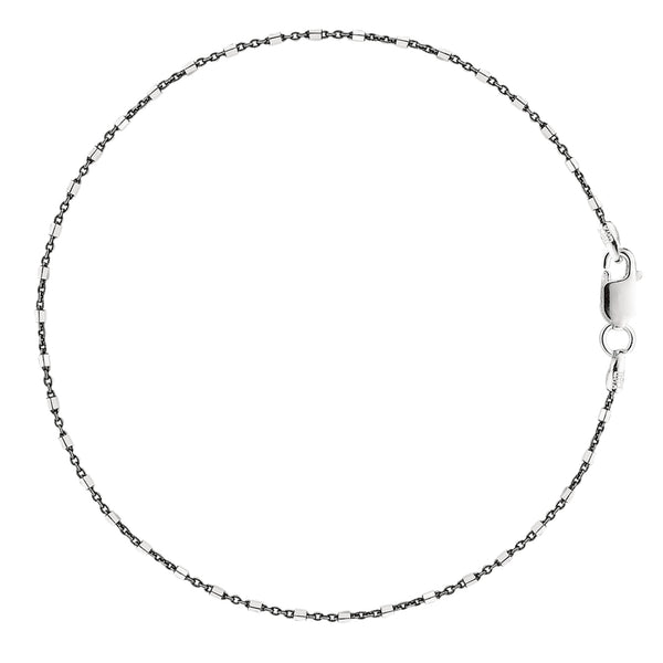 Black And White Barrel Bead Style Chain Anklet In Sterling Silver