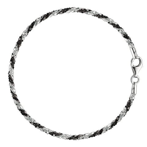 Black And White Sparkle Style Chain Anklet In Sterling Silver