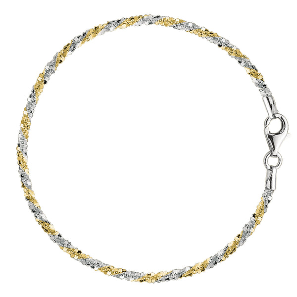 White And Yellow Sparkle Style Chain Anklet In Sterling Silver