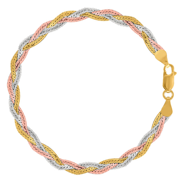 Tricolor Braided Snake Chain Anklet In Sterling Silver, 10""