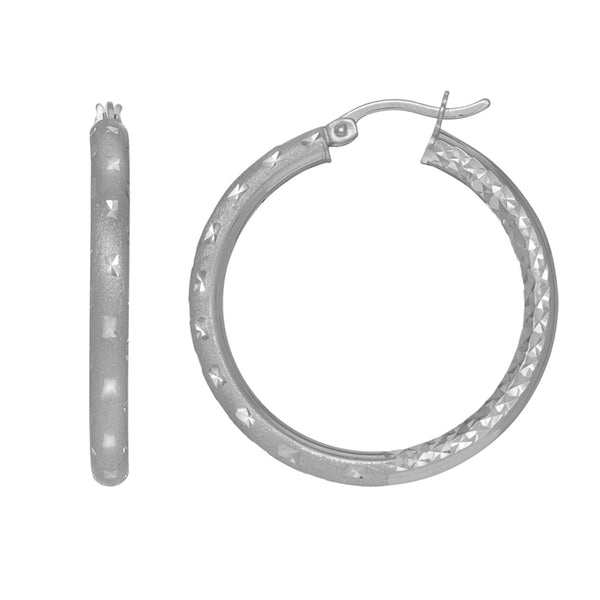 Sterling Silver Rhodium Finish Shiny Diamond Cut Finish Round Hoop Earrings