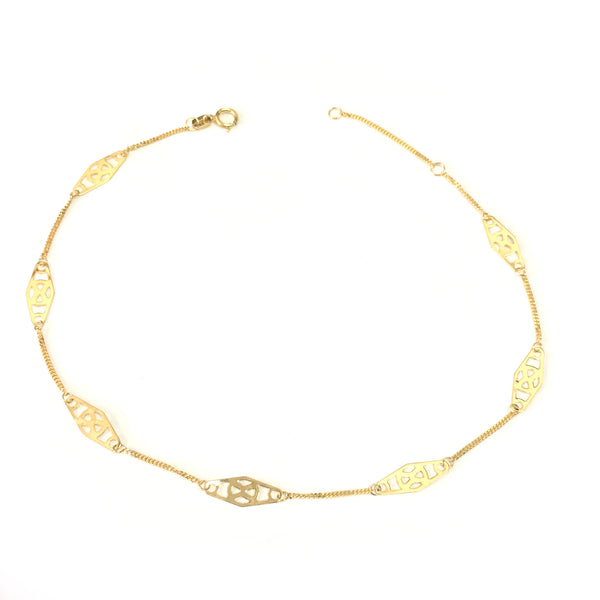 14K Yellow Gold Twisted Bar Fancy Anklet, 10""