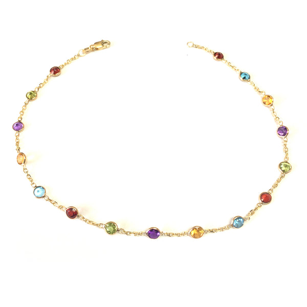 14k Yellow Gold Cable Chain Link Anklet And Alternate Round Faceted 5 Color Stones, 10""
