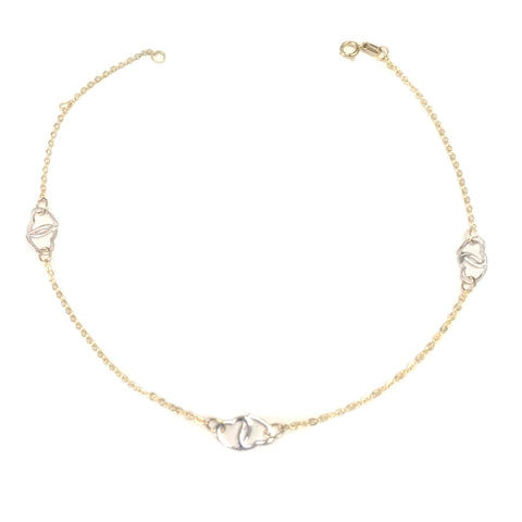 14K Yellow And White Gold Heart Charms Fancy Anklet, 10""