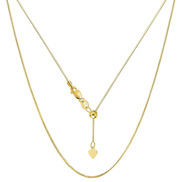 14k Yellow Gold Adjustable Octagonal Snake Chain Necklace, 0.85mm, 22""