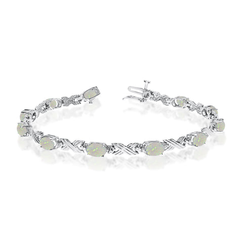 14K White Gold Oval Opal Stones And Diamonds Tennis Bracelet, 7""
