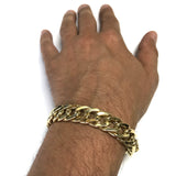 14k Yellow Gold Semi Solid Curb Chain Bracelet, 7.5""