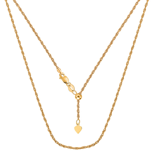 14k Yellow Gold Adjustable Rope Chain Necklace, 1.0mm, 22""