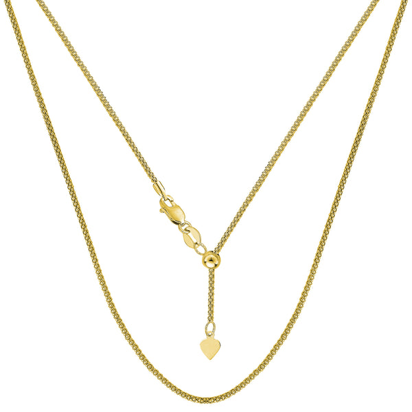 "14k Yellow Gold Adjustable Popcorn Link Chain Necklace, 1.3mm, 22"" - JewelryAffairs  - 1"