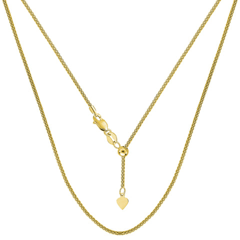 14k Yellow Gold Adjustable Popcorn Link Chain Necklace, 1.3mm, 22""