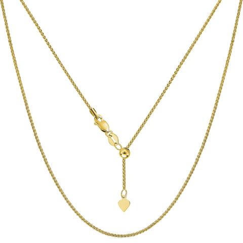 14k Yellow Gold Adjustable Wheat Chain Necklace, 1.0mm, 22""