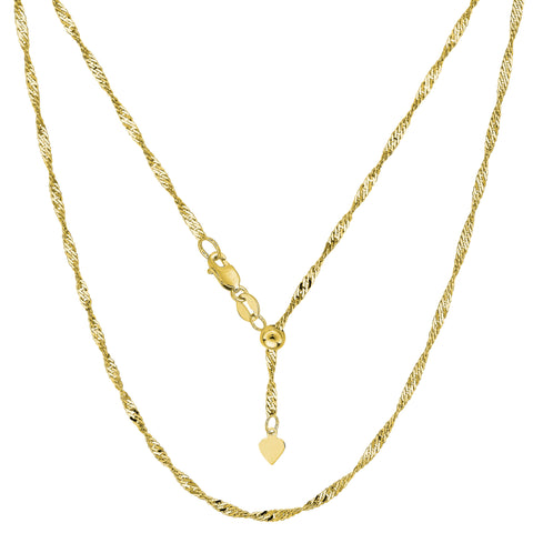 "14k Yellow Gold Adjustable Singapore Link Chain Necklace, 1.15mm, 22"" - JewelryAffairs  - 1"