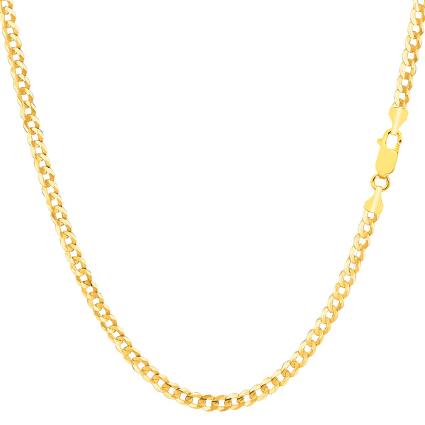 14k Yellow Gold Comfort Curb Chain Necklace, 2.7mm