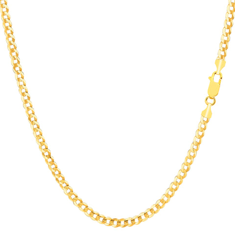 14k Yellow Solid Gold Comfort Curb Chain Bracelet, 2.7mm, 10""