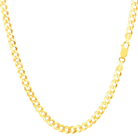 14k Yellow Gold Comfort Curb Chain Necklace, 3.6mm - JewelryAffairs  - 1