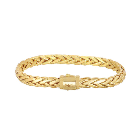 14k Yellow Gold Oval Weaved Mens Bracelet, 7.5""