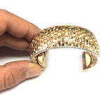 14k Yellow And White Gold Basket Weave Cuff Bangle Bracelet