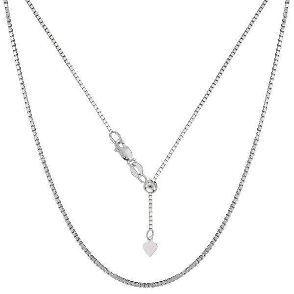 "14k White Gold Adjustable Box Link Chain Necklace, 1.15mm, 22"" - JewelryAffairs  - 1"