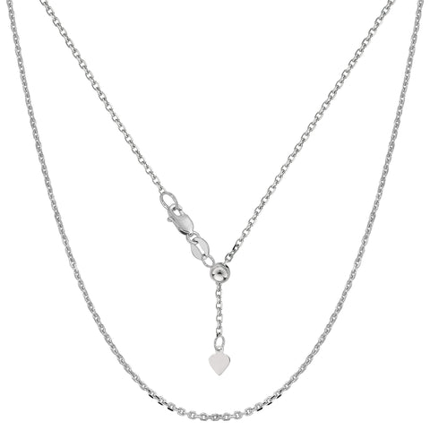 14k White Gold Adjustable Cable Link Chain Necklace, 0.9mm, 22""