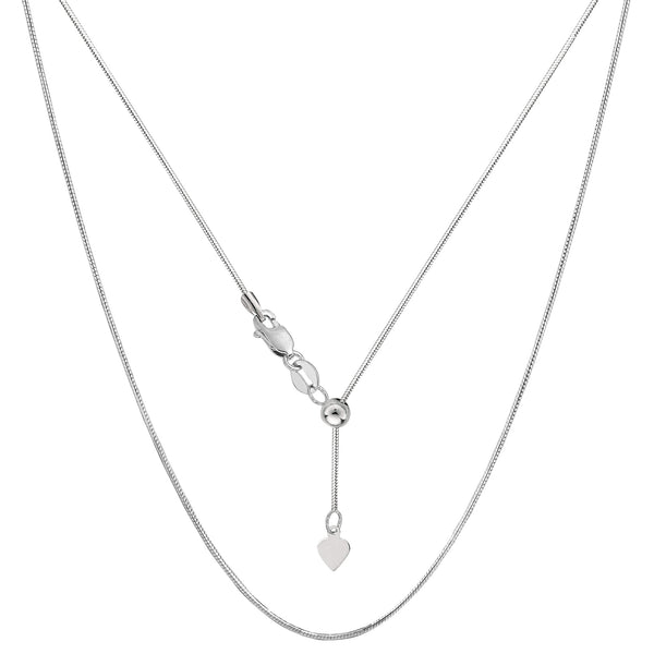 "14k White Gold Adjustable Octagonal Snake Chain Necklace, 0.85mm, 22"" - JewelryAffairs  - 1"