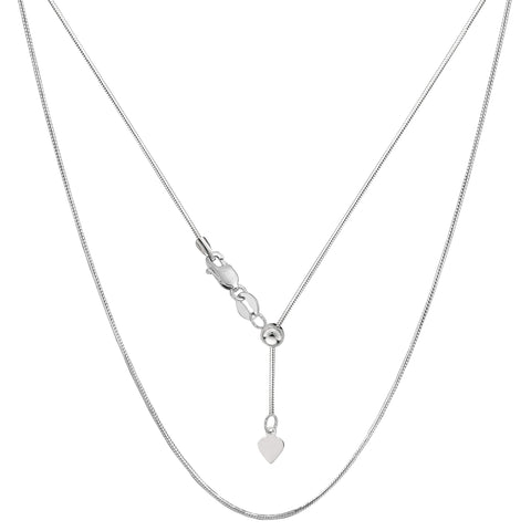 14k White Gold Adjustable Octagonal Snake Chain Necklace, 0.85mm, 22""