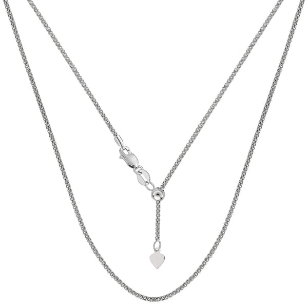 "14k White Gold Adjustable Popcorn Link Chain Necklace, 1.3mm, 22"" - JewelryAffairs  - 1"