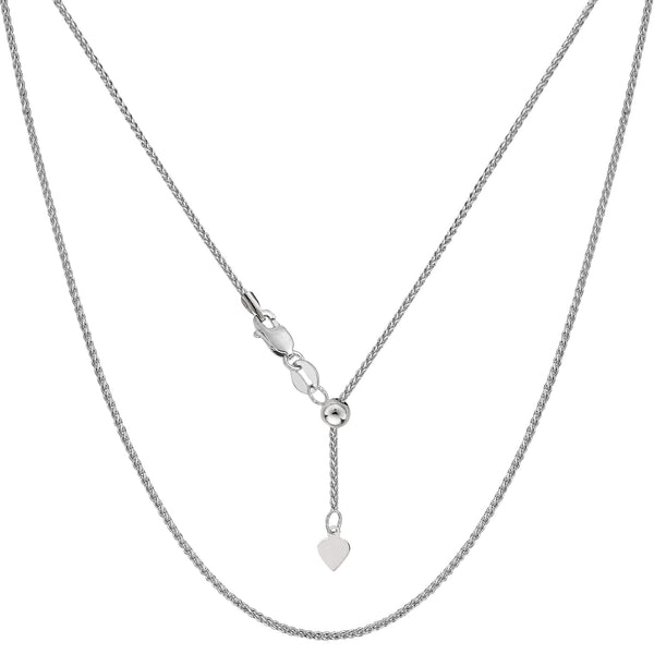 "14k White Gold Adjustable Wheat Chain Necklace, 1.0mm, 22"" - JewelryAffairs  - 1"
