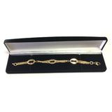14k Yellow Gold Three Curved Oval Link Multi Stranded Cable Chain Bracelet, 7.5""