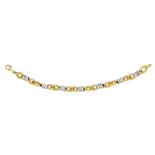 14k Yellow And White Gold White Rings On Yellow Marquis Link Bracelet, 7.75""