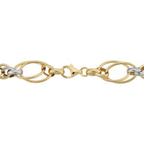 14k Two Tone Gold Double Oval Link Womens Bracelet, 7.5""