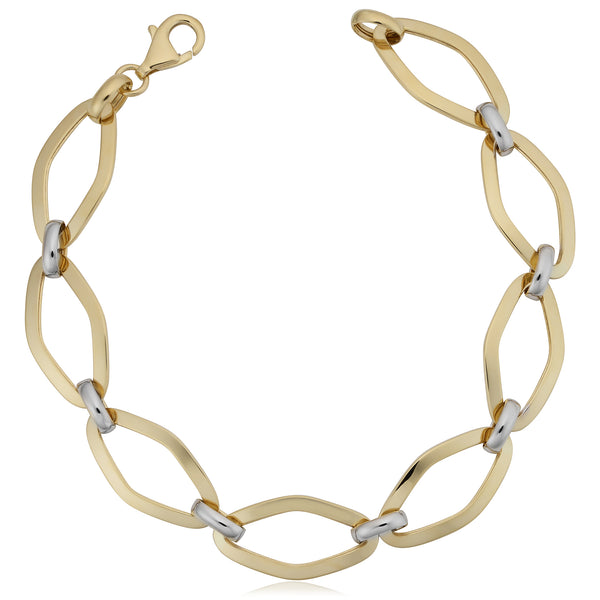 14k White And Yellow Gold Marquise Link Womens Bracelet, 7.75""