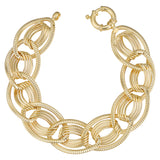 14k Yellow Gold Fancy Oval Link Womens Bracelet, 7.75""