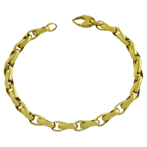 14k Yellow Gold Fancy Link Men's Bracelet, 8.25""