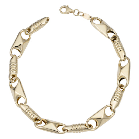 14k Yellow Gold Fancy Alternate Link Mens Bracelet, 8""